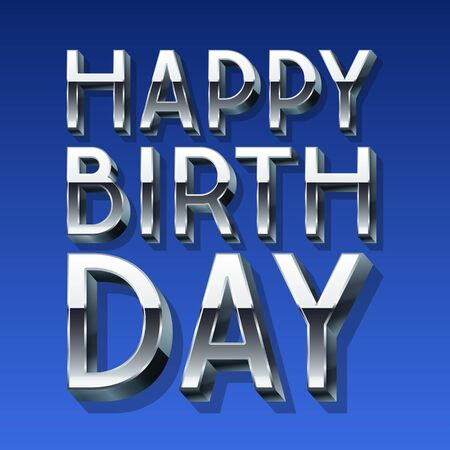 Happy birthday vector card with 3D silver font on blue background Ilustrace