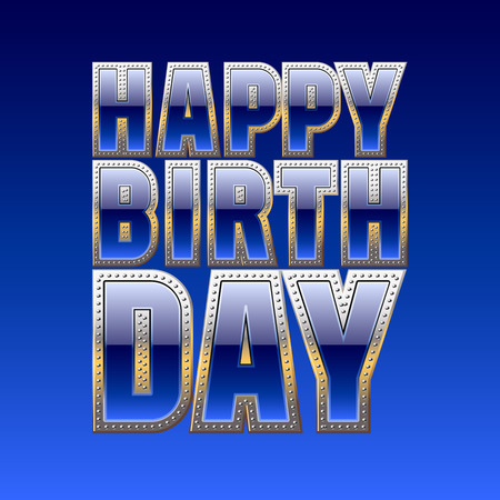 gold font: Happy birthday vector card with posh blue and gold font
