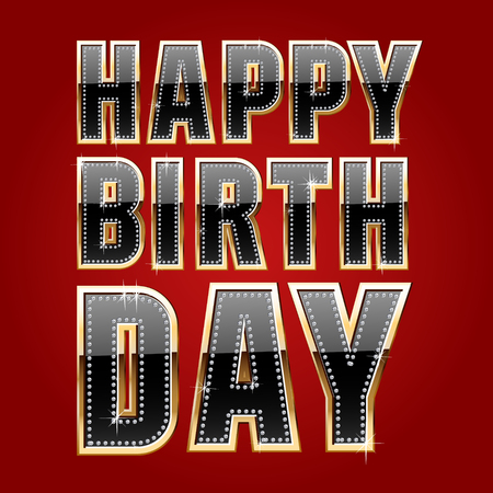 happy birthday text: Happy birthday vector card with black and gold font for real man