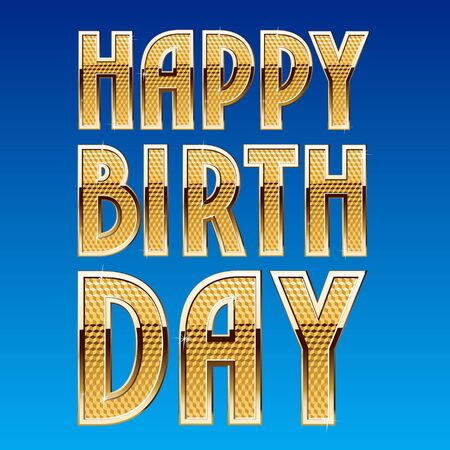 Happy birthday vector card with rich shining golden font Ilustrace