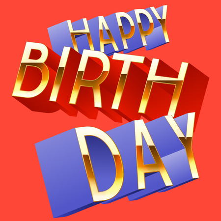 randomly: Happy birthday vector card with randomly rotated golden colorful letters