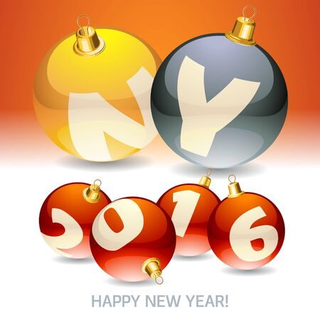 Happy new year greeting card with font symbols on Christmas balls
