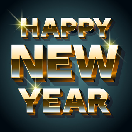 gold font: Happy new year greeting card with 3D bold gold font Illustration