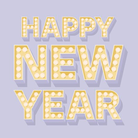 Happy new year greeting card with nice lamp font