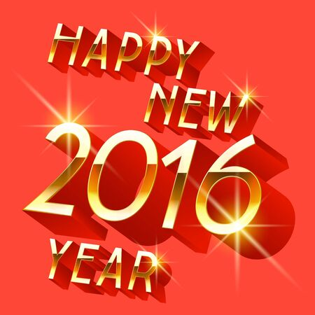 Happy new year greeting card with 3D rotated red and gold letters