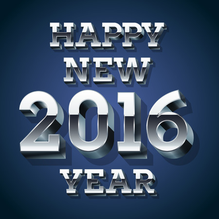 Happy new year greeting card with 3D silver font