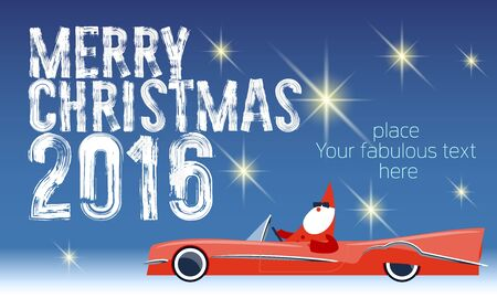 cabriolet: Vector Merry Christmas greeting card with Santa Claus rides cabriolet and text with handwritten brush font. With place for your fabulous greeting text Illustration