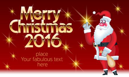 ベクター メリー クリスマス グリーティング カード面白いサンタ クロースの配信プレゼントと黄金の豊富なフォントでシックなテキスト。素晴らし
