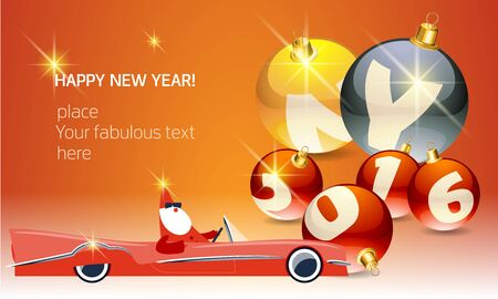 Vector Happy new year greeting card with Santa Claus rides cabriolet and text on glass balls. With place for your fabulous greeting text Ilustracja