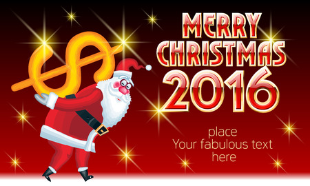 to present: Vector Merry Christmas greeting card with Santa Claus delivery dollar sign and text with golden and red elegant font. With place for your fabulous greeting text