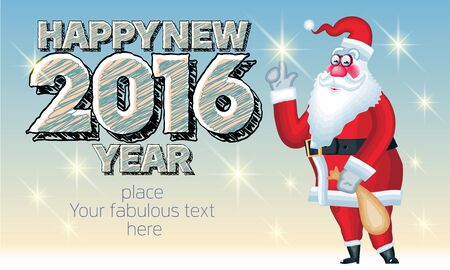Vector Happy new year greeting card with Santa Claus delivery gifts and text with original sketch font. With place for your fabulous greeting text
