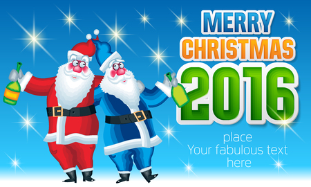 father frost: Vector Merry Christmas greeting card with Santa Claus and Father Frost with bottle of champagne and text with colorful font. With place for your fabulous greeting text