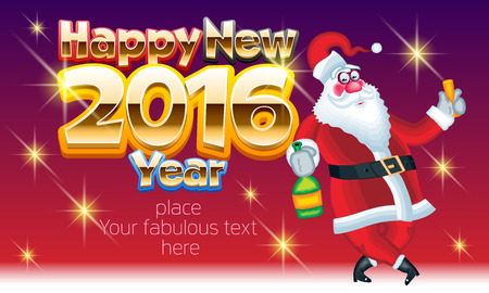 cartoon bottle: Vector Happy new year greeting card with Santa Claus with bottle of champagne and wineglass and text with golden luxury font. With place for your fabulous greeting text Illustration