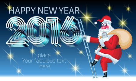Vector Happy New Year 2016 greeting card with funny Santa Claus on ladder delivery gifts and text with 3D futuristic metal font. With place for your fabulous greeting text