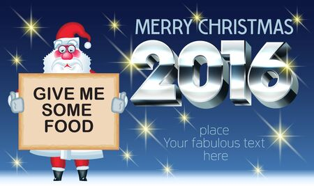 Vector Merry Christmas 2016 greeting card with poor Santa Claus and text with 3D silver font. With place for your fabulous greeting text