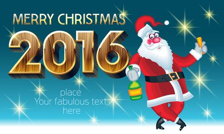Vector Happy New Year 2016 greeting card with Santa Claus with bottle of champagne and wineglass and text with golden and wooden luxury font. With place for your fabulous greeting text