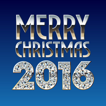 platinum: Vector Merry Christmas 2016 greeting card with beautiful elegant chic font