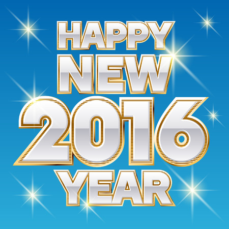 Vector Happy new year greeting card with sparkling gold and white font