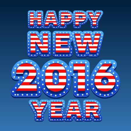 united stated: Vector Happy New Year 2016 greeting card with United Stated of America flag style font