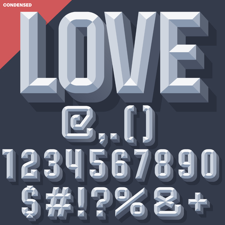 beveled: Vector 3D grey set of condense beveled numbers and symbols with shadow. Simple colored version. Illustration