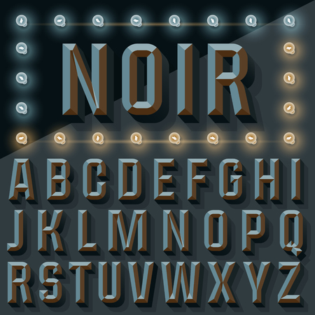 beveled: Vector 3D black condense beveled alphabet with shadow. Gothic version with lamp.