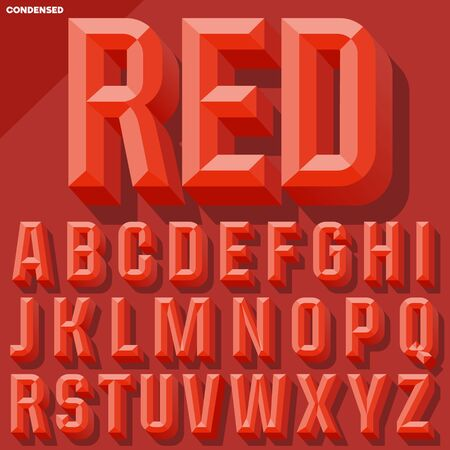 chiseled: Vector 3D red condense beveled alphabet with shadow. Simple colored version.