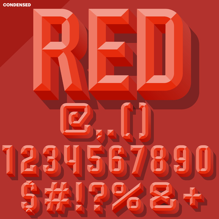 Vector 3D red set of condense beveled numbers and symbols with shadow. Simple colored version. Illustration