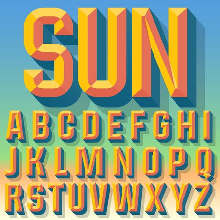 beveled: Vector 3D summer condense beveled alphabet with shadow. Multicolored version.