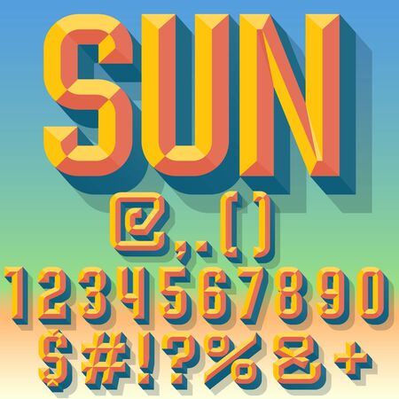 chiseled: Vector 3D summer set of condense beveled numbers and symbols with shadow. Multicolored version. Illustration