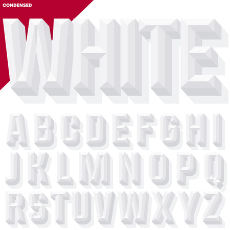 beveled: Vector 3D white condense beveled alphabet with shadow. Simple colored version.