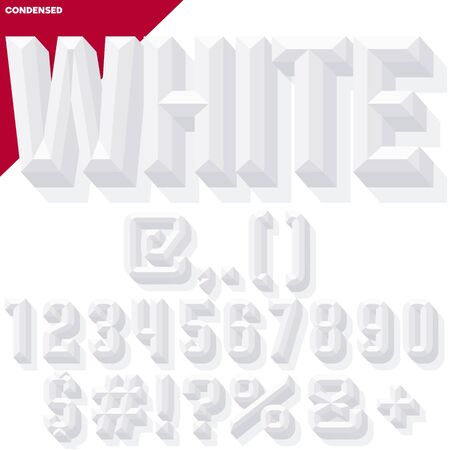 Vector 3D white set of condense beveled numbers and symbols with shadow. Simple colored version.