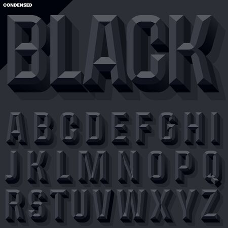 Vector 3D black condense beveled alphabet with shadow. Simple colored version.