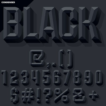 Vector 3D black set of condense beveled numbers and symbols with shadow. Simple colored version.