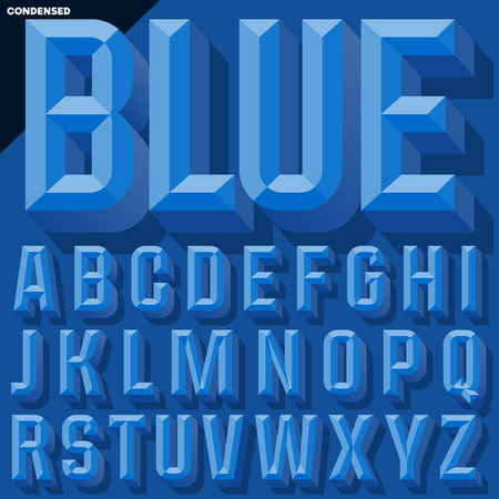 Vector 3D blue condense beveled alphabet with shadow. Simple colored version. Illustration