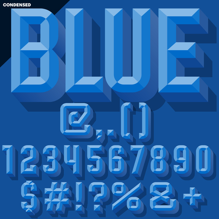 Vector 3D blue set of condense beveled numbers and symbols with shadow. Simple colored version.