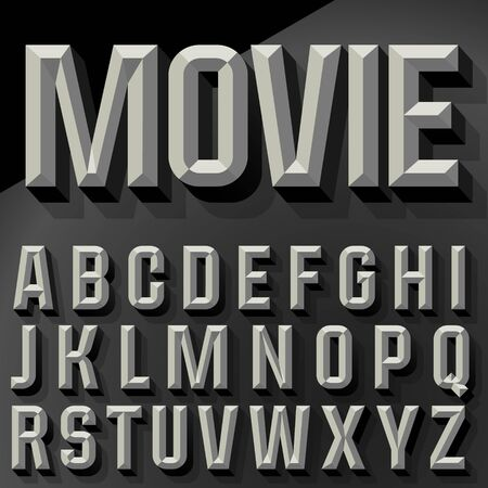 Vector 3D condense beveled alphabet with shadow. Bicolored version.