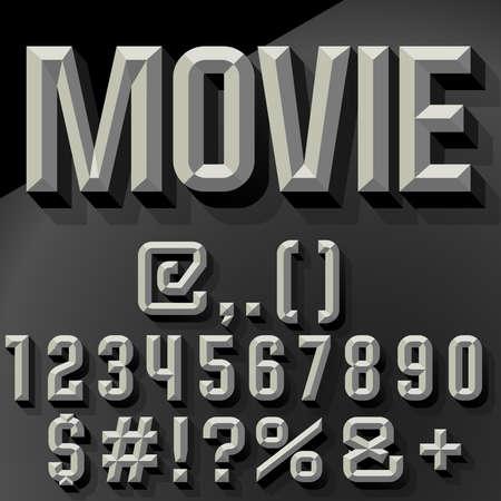 狭くのベクトル 3 D セット斜め数字および記号の影になります。黒と白のバージョンです。  イラスト・ベクター素材