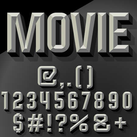 chiseled: Vector 3D set of condense beveled numbers and symbols with shadow. Black and white version.