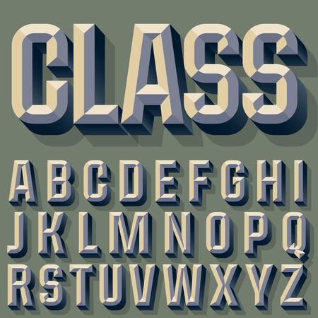 beveled: Vector illustration of old school beveled alphabet. Simple colored version. Alphabet