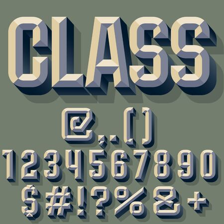 bevel: Vector illustration of old school beveled alphabet. Simple colored version. Numbers and Symbols Illustration