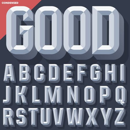 chiseled: Vector 3D grey condense beveled alphabet with shadow. Simple colored version.