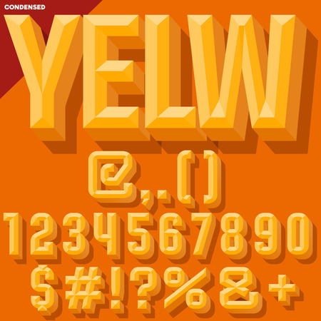 Vector 3D yellow condense beveled symbols and numbers with shadow. Simple colored version.