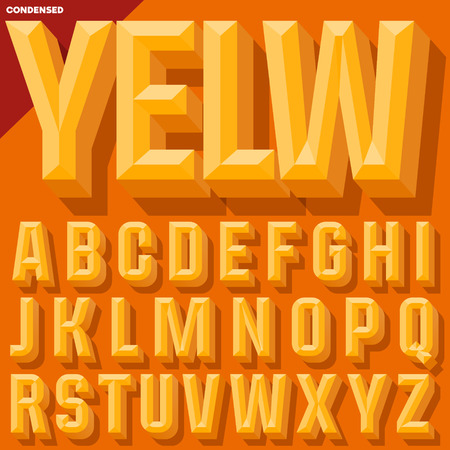 Vector 3D yellow condense beveled alphabet with shadow. Simple colored version. Illustration