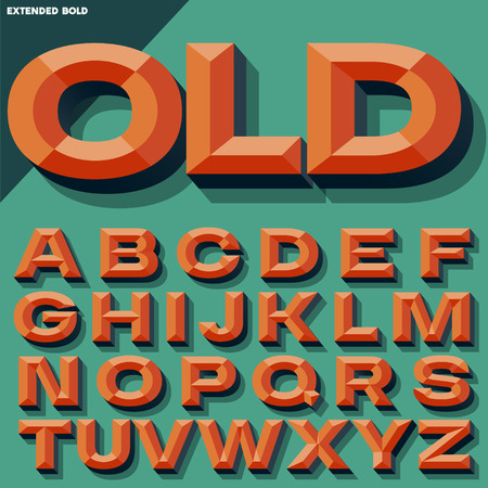 beveled: Vector 3D bright bold beveled alphabet with shadow. Multicolored version.