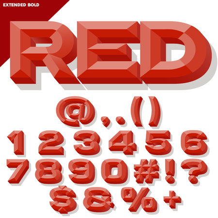 beveled: Vector 3D red set of bold beveled numbers and symbols with shadow. Simple colored version.