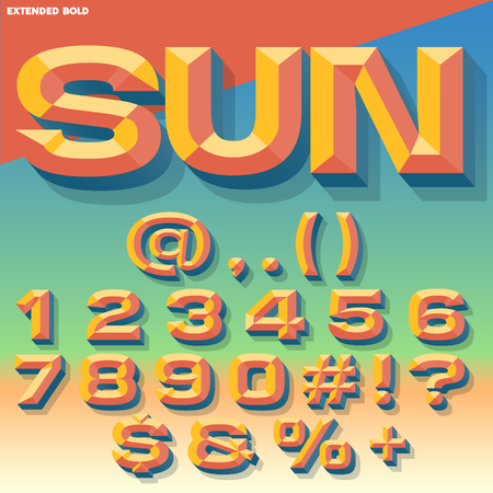 chiseled: Vector 3D summer set of bold beveled numbers and symbols with shadow. Multicolored version.