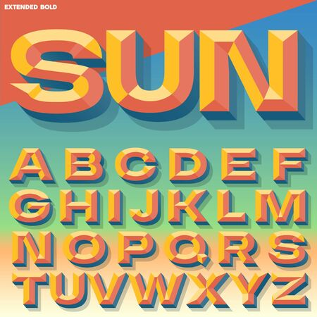 Vector 3D summer bold beveled alphabet with shadow. Multicolored version. Illustration
