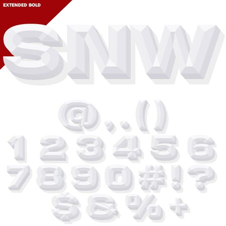 chiseled: Vector 3D white set of bold beveled numbers and symbols with shadow. Simple colored version. Illustration