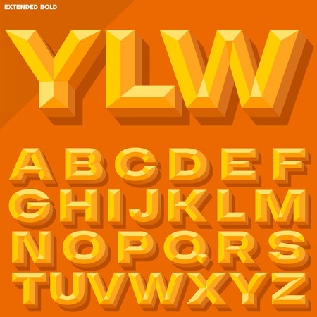 beveled: Vector 3D yellow bold beveled alphabet with shadow. Simple colored version. Illustration