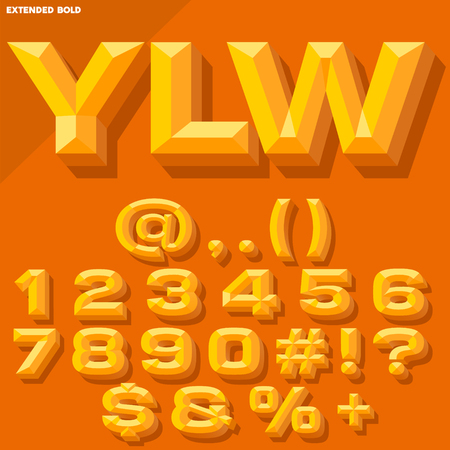 beveled: Vector 3D yellow bold beveled symbols and numbers with shadow. Simple colored version.
